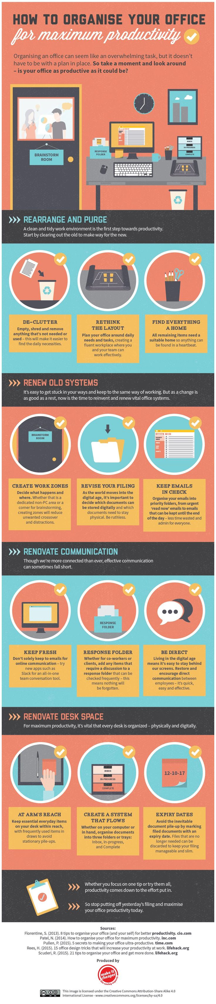 best ideas about work office organization work how to organise your office for maximum productivity infographic