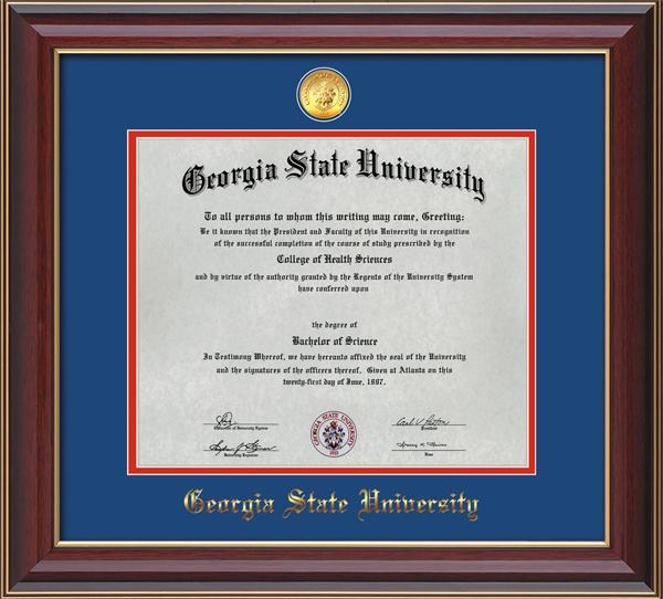 Georgia State University Diploma Frames W Medallion