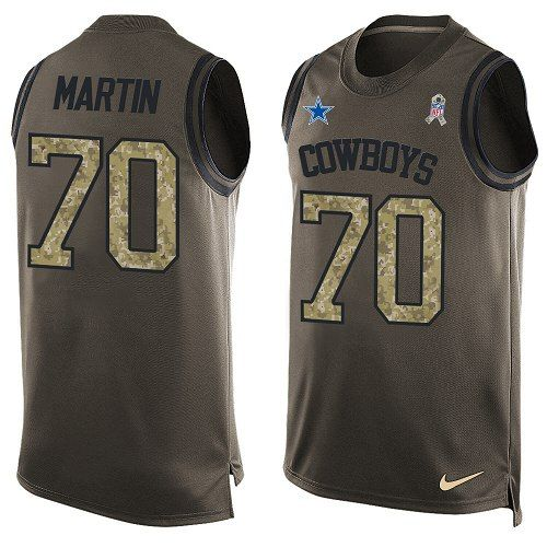 Nike Dallas Cowboys Men's #70 Zack Martin Limited Green Salute to Service Tank Top NFL Jersey