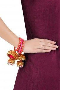 Gota Ribbon and Jhumki Hanging Pair Of Red Bangles