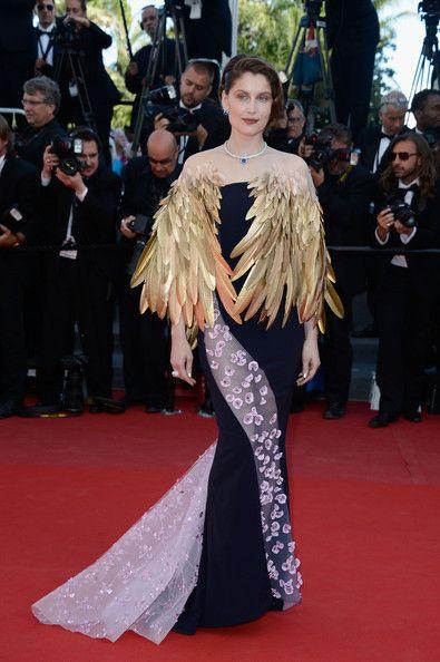 Laetitia Casta in Dior feather cape: Cannes