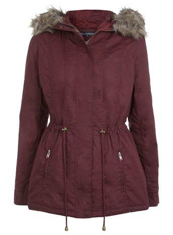 Burgundy Short Fur Hood Parka