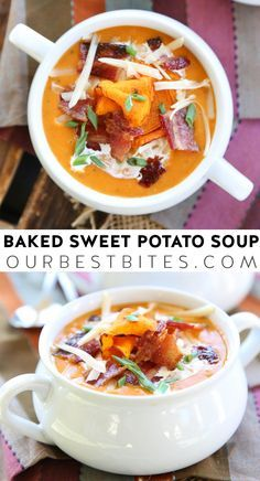 Sweet Potato Soup: If you're a sucker for comfort food you can top with candied bacon and smoked cheese and sip with a spoon, then this soup is for you!  This has everything you love about traditional Baked Potato Soup, but with sweet and savory fall flavors.   via @ourbestbites