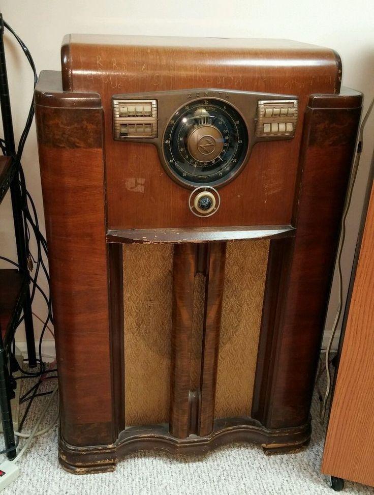 Vintage 1940's Zenith Console High End Radio | Art Deco ...