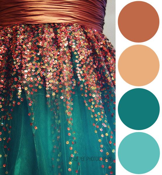 Color Palette Inspiration: Sequin Copper + Teal - this would be great with a patinaed copper top table.