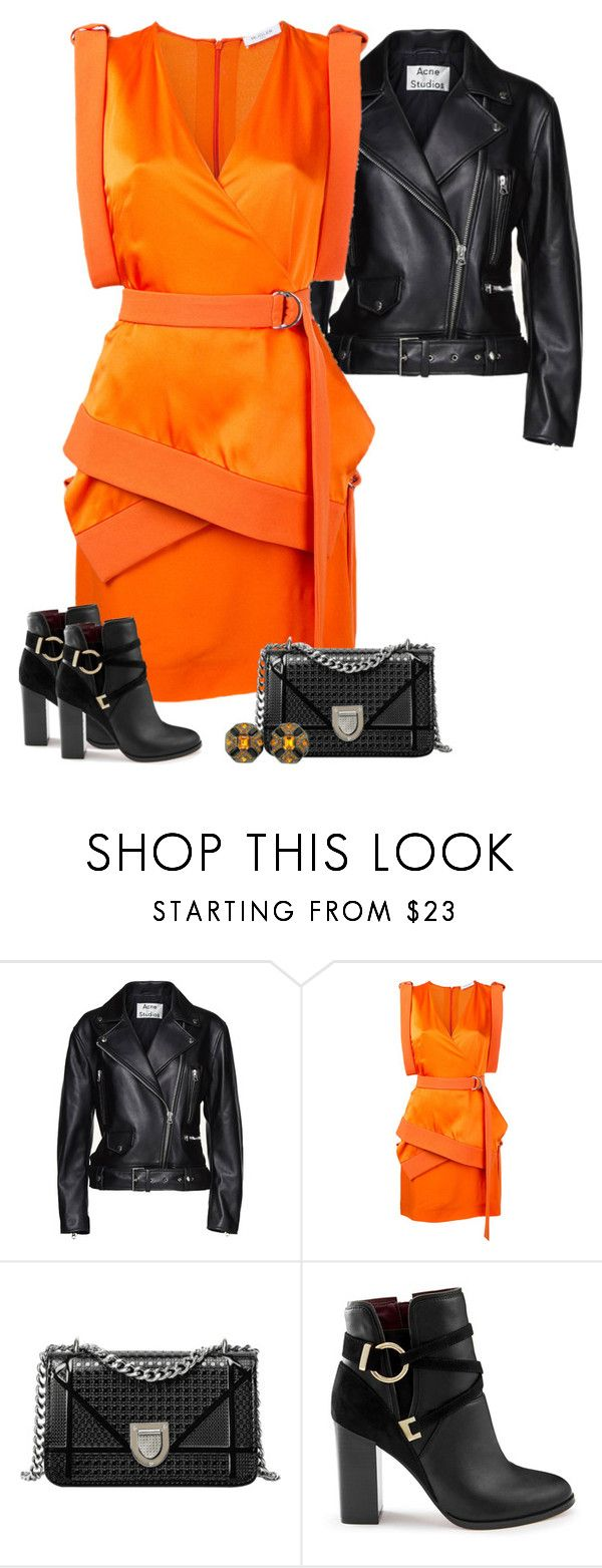 """""""Black & Orange Dress Outfit"""" by majezy ❤ liked on Polyvore featuring Acne Studios, Thierry Mugler and Miss Selfridge"""