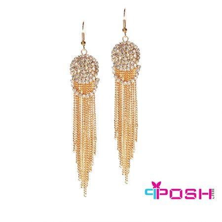 Deniz- Earrings Elegant Gold Colour dangling earrings set with crystal stones