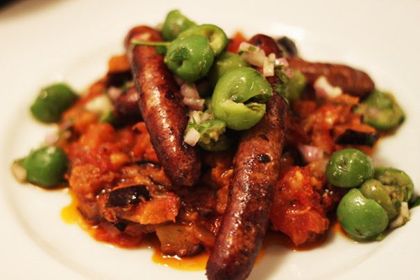 Lamb Merguez with Eggplant Jam and Green Olives