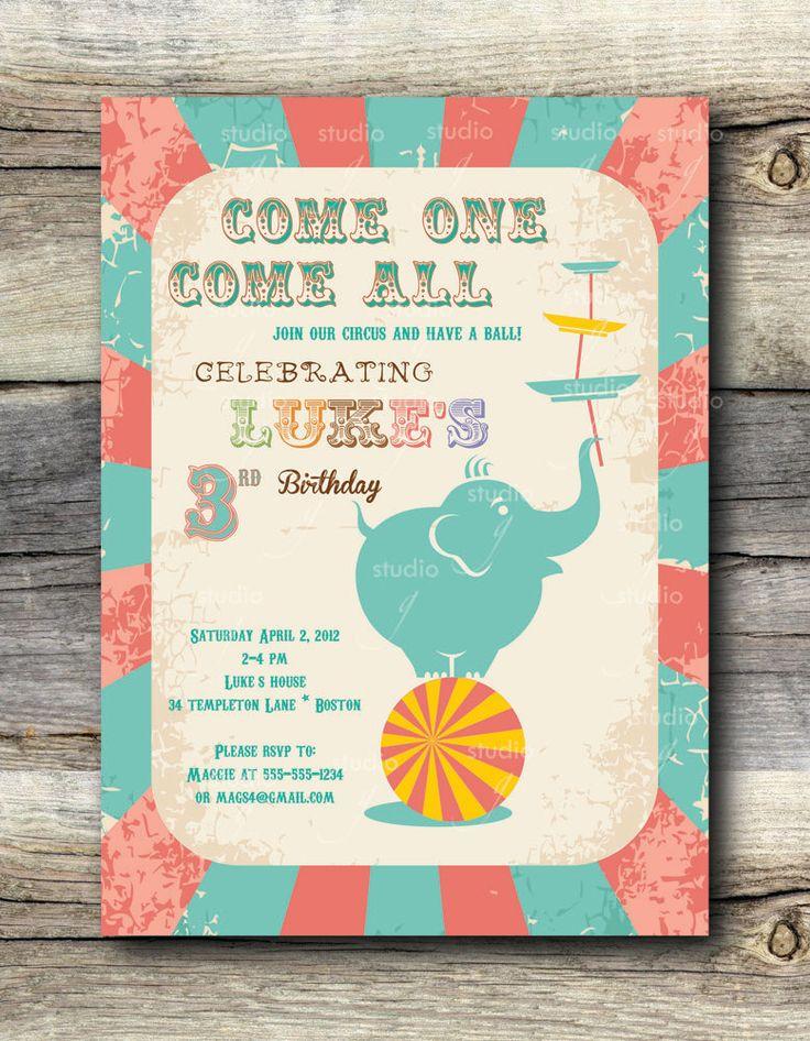 Vintage Circus Party Invitation -12. $24.00, via Etsy.