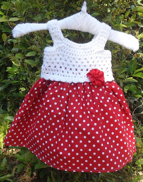 Crochet Red and White Baby Dress by Creationsfromme2u on Etsy, $35.00