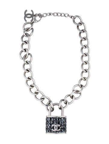 Chanel Tweed Padlock Necklace
