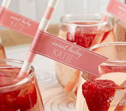 Personalized Party Straw Flags - Kates Rustic Baby Shower Collection