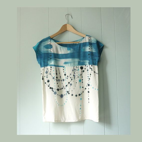 silk hand painted shirt  INDIGO IKAT DOT made to order by xsilk, $139.00  AWESOME.  etsy's feature on the facebook today.