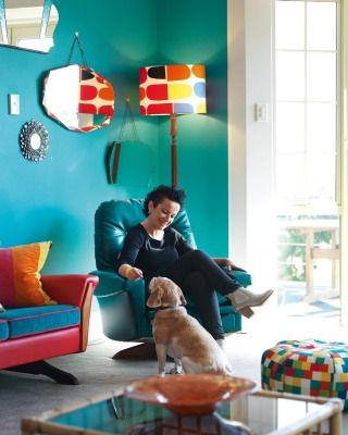 Lou and Holly the beagle; the lampshade features a Marimekko fabric.