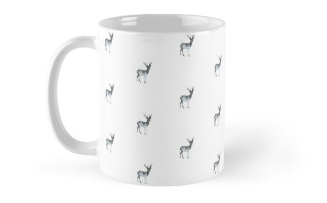 15% OFF With Any 2 Mugs! Snowing Deer On White Mug by ARTbyJWP via Redbubble #mugs #coffeemug #mug #gifts #love #artprint #shop #stockingstuffer - Features: Features wraparound prints. Dishwasher safe. Made from Ceramic.
