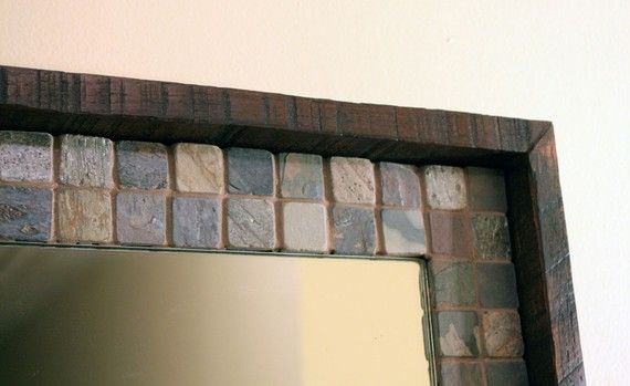 Slate and Wood Framed Mirror Java Finish by natureinspiredcrafts, $280.00