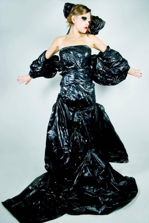 trash bag dress recycled dresses pinterest eyes makeup and the o 39 jays. Black Bedroom Furniture Sets. Home Design Ideas