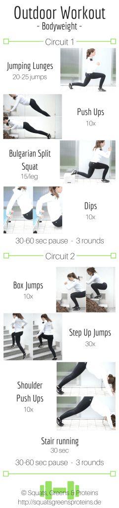 Ein Ganzkörper Workout. Fitness drinnen oder draußen. Ganz egal. Hauptsache du bewegst dich. Training ohne Geräte.