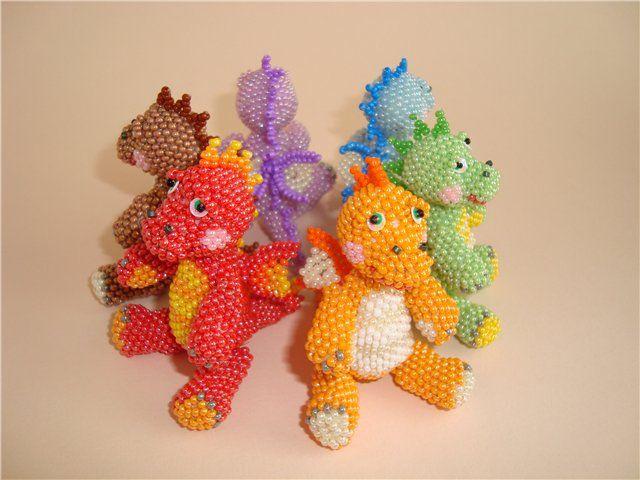 Beaded dragons (pattern on website)