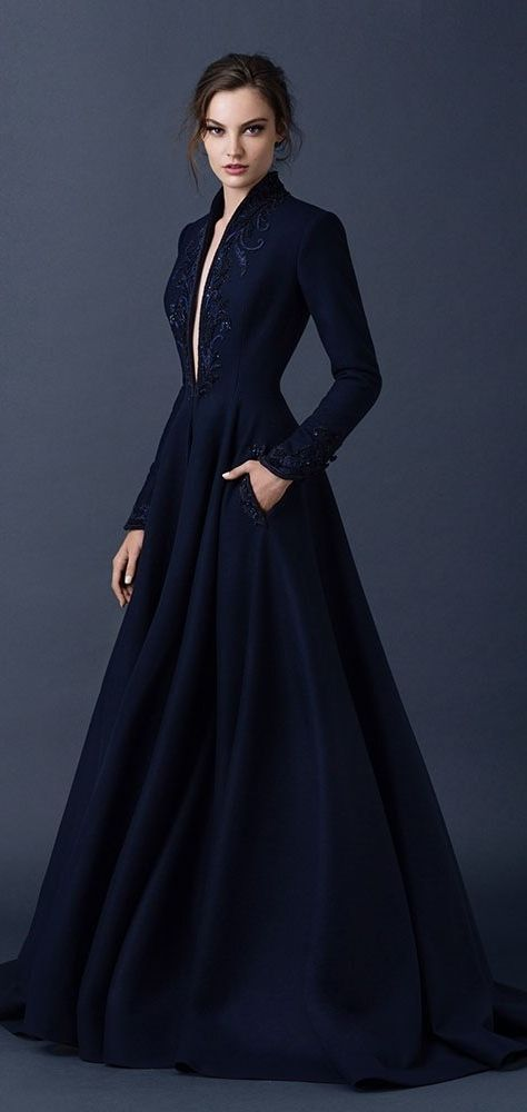 Paolo Sebastian Couture Fall/Winter 2014-2015 Navy gown high neck long sleeves a-line embroidery beading pockets plunging neckline
