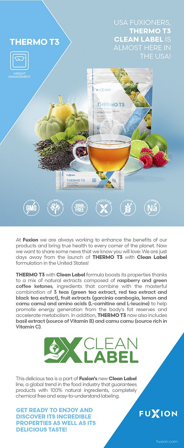 combination of 3 teas (green tea extract, red tea extract and black tea extract), fruit extracts (garcinia cambogia, lemon and camu camu) and amino acids (L-carnitine and L-leucine) to help promote energy generation from the body's fat reserves and accelerate metabolism. In addition, Thermo T3 now also includes basil extract (source of Vitamin B) and camu camu (source rich in Vitamin C).