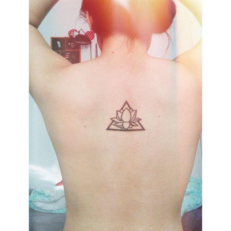 Simple Lotus Flower Tattoo: Lotus Flower + Triangle Tattoo.