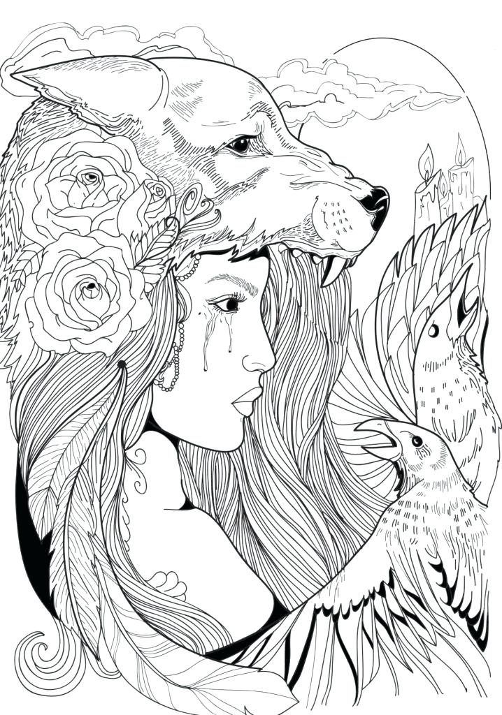 Wolf Coloring Pages For Adults Fairy Coloring Pages Star
