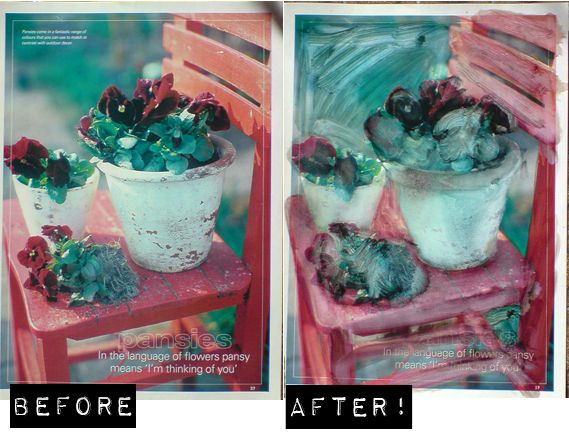 "Painting magazine pictures using ""Art Clean"" (natural solvent)"