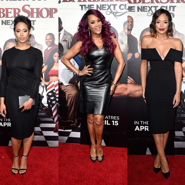 You can never go wrong with a #littleblackdress! Check out Margot Bingham, Vivica Fox in Versace & Sarah-Jane Crawford looking absolutly #flawless at last night's #BarberShopTheNextCut Premiere! #lbd #blackdress  #style #fashion #redcarpet #leatherdress #vivicafox #margotbingham #sarahjanecrawford #BarberShop