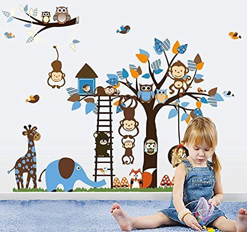 Colorful world XXXL! Giungla-Zoo: scimmia giraffa Elefant & gufo adesivo da parete per cameretta bambini regalo GR, 60 * 90 cm x2pcs, http://www.amazon.it/dp/B00M1K3LLC/ref=cm_sw_r_pi_awdl_x_Dlv0xbWAPYDE1