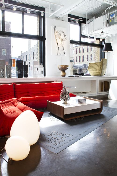 Modern Style Shocking Red Sofas Living Room Furniture Part 84