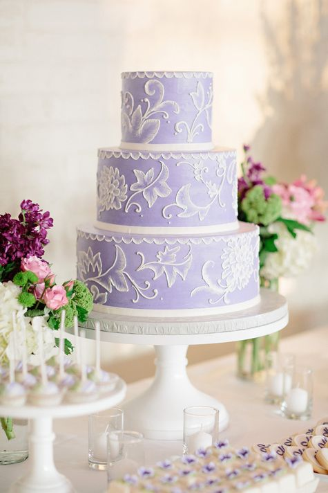 Three Tiered Purple Wedding Cake | Sarah's Cake Shop |  Lisa Hessel Photography | TheKnot.com
