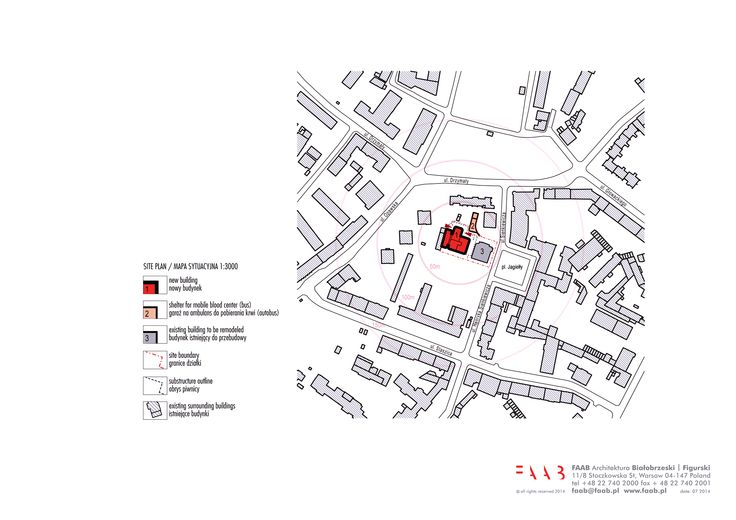 site plan / new construction and renovation of the Raciborz Regional Blood Center in Raciborz, PL © FAAB Architektura