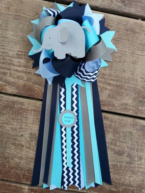 Teal,navy And Blue Elephant Baby Shower Mum Wide