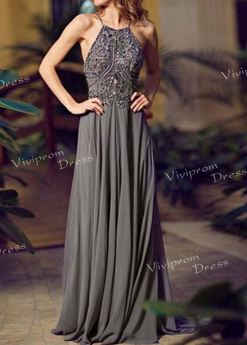 high fashion 2014 prom dresses, halter backless floor length custom made evening gowns, party dresses