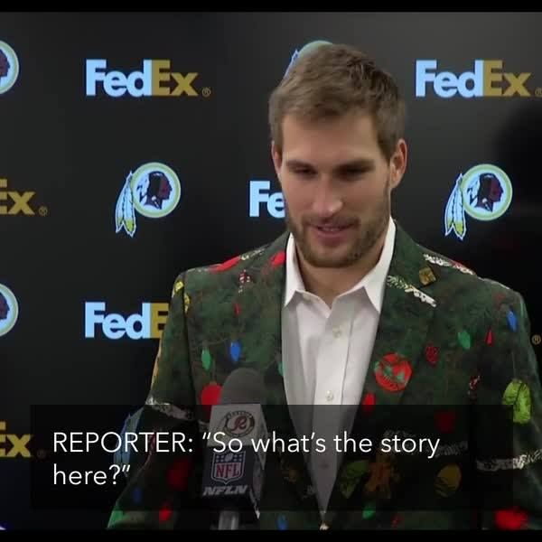 Kirk Cousins' wife packed him this amazing Christmas suit for #WASvsCHI…  And he didn't even know it.