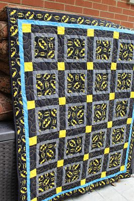 Easy to sew child's batman quilt.   Directions for sewing a small quilt.