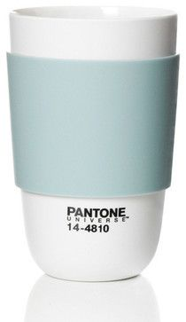 Pantone Cup Classic with Silicone band, Canal Blue - modern - Cups And Glassware - The Organizing Store