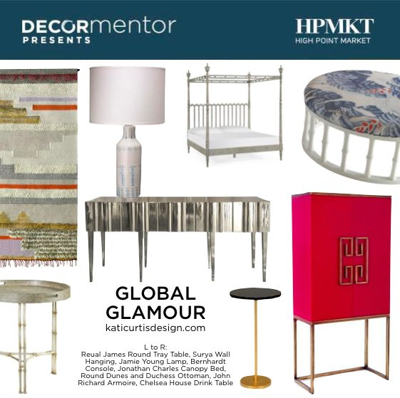 Interior Designer Kati Greene Curtis brings a very distinctive eye when curating pieces for her Global Glamour clients. She is based in NYC and Los Angeles and works on projects all over the USA. Crazy talented and lovely too! See here the new home furnishings she curated for High Point Market | The World's Home for Home Furnishings showcasing what will be new this Fall. ‪#‎HPmkt‬ #GlobalGlamour