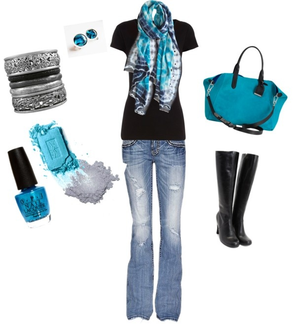 """Fall fav - Black & teal"": Design Clothing, Color Combos, Blue, Fall Fav, Color Together, Outfit, Styles, Teal, Scarfs"