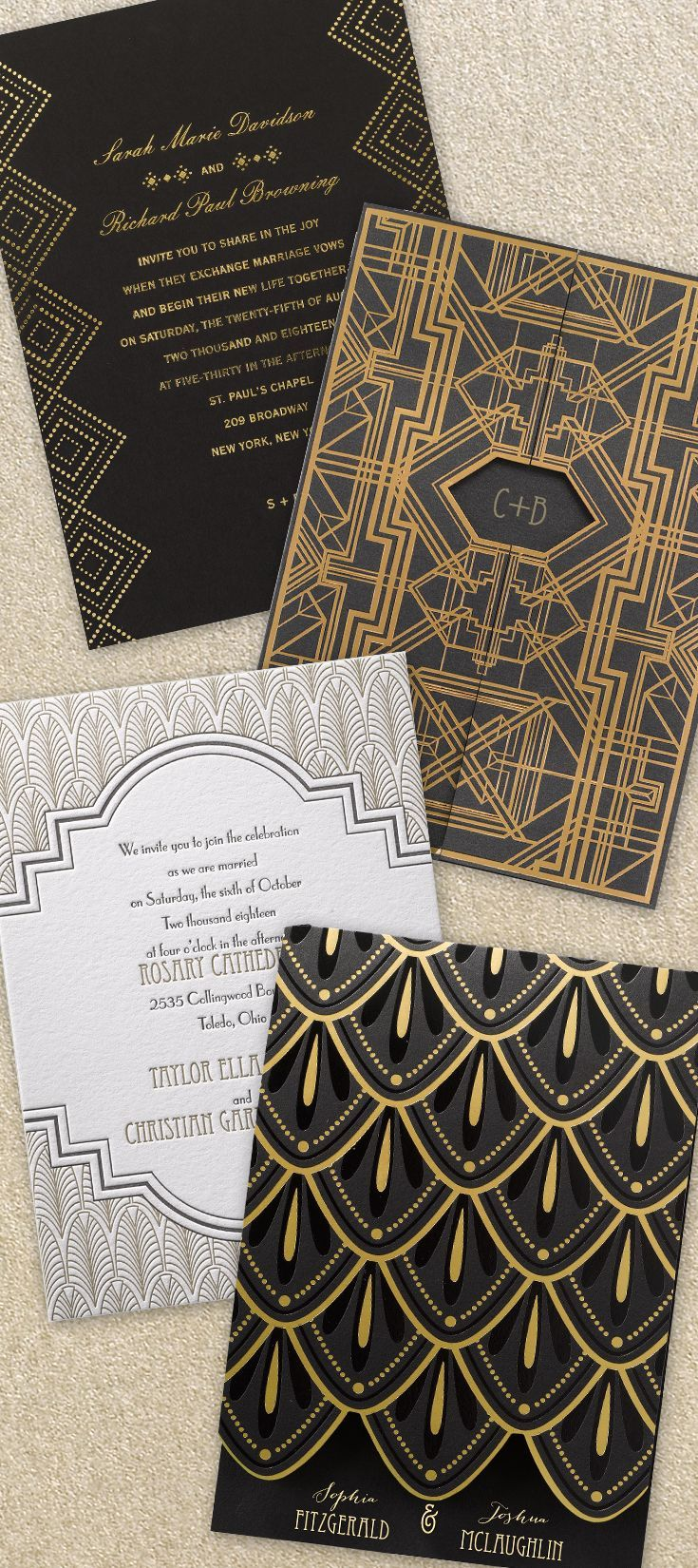 Our collection features the clean lines, geometric shapes and bold patterns you've come to love about art deco  ||  /dawninvites/