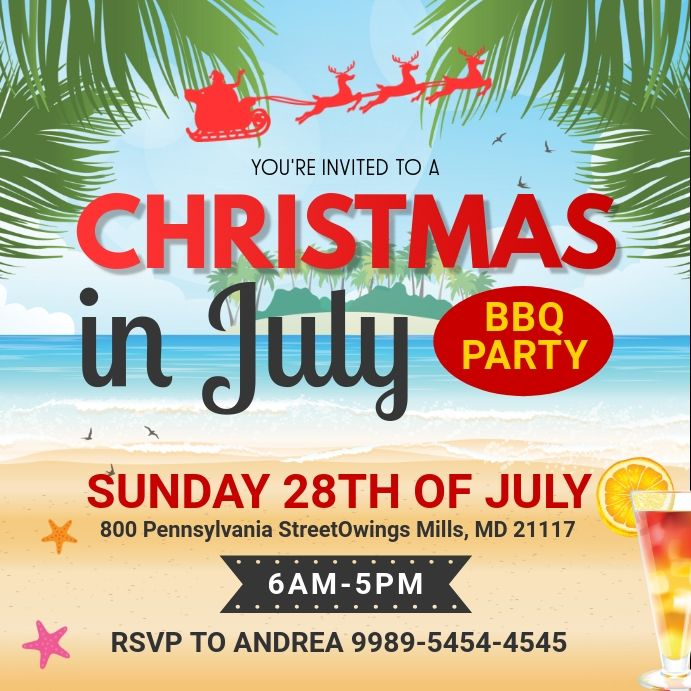 Christmas In July Party Social Media Invite Party Invite Template Summer Party Invitations Christmas Party Invitations