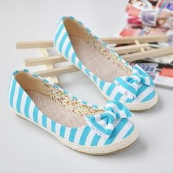 Sweet Bowknot and Stripes Print Embellished Round Head Design Women's Flat Shoes