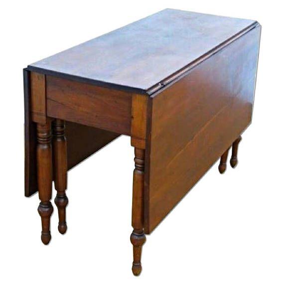Antike Frühe Kirsche Tropfenblatt Spindel Beine Tisch Konsole Etsy Dining Furniture Drop Leaf Dining Table Rustic Dining Furniture