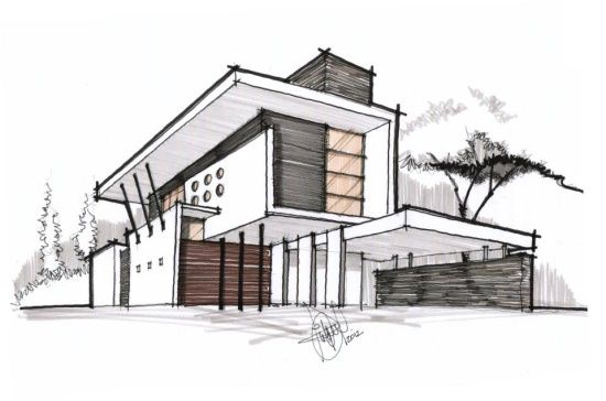 Contemporary residence architectural drawing visit us at for Architecture modern house design 2 point perspective view