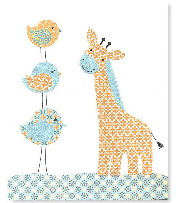 Aqua and Orange Nursery, Bird Nursery Decor, Giraffe Art Print, Boy Nursery Art, Cute Nursery Art, 8 x 10, 11 x 14, Playroom Decor