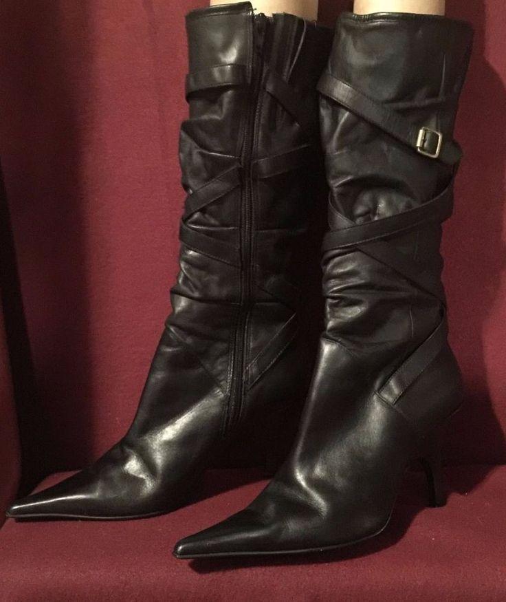 Wild Pair Black Leather Knee High Boots - 9 M with 3 Inch heels EUC! #WildPair #KneeHighBoots #CasualWorkClubware