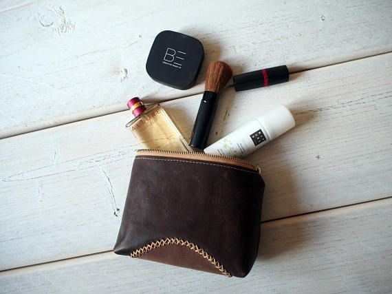 Leather Makeup bag Leather Make up Bag Cosmetic bag Leather