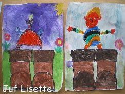 laarzen tekenen. Kinderen tekenen met wasco Kleinduimpje. Daarna laarzen en achtergrond verven met waterverf of ecoline.