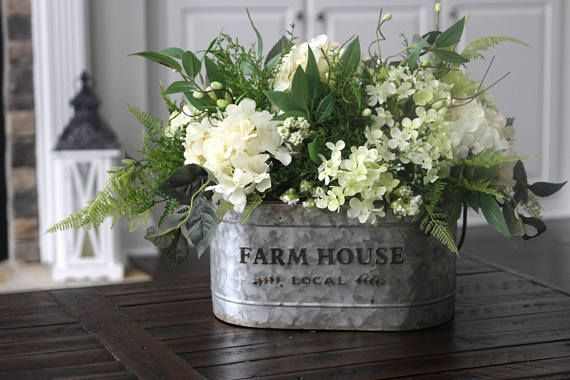 A Perfect Farmhouse Centerpiece For Your Kitchen Or Dining Room Table Beautiful Creamy White Farmhouse Centerpiece Rustic Arrangements Hydrangea Arrangements